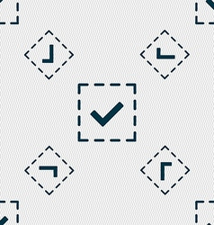 Check mark tik icon sign Seamless pattern with vector image