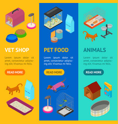 accessories for domestic pets banner vecrtical set vector image