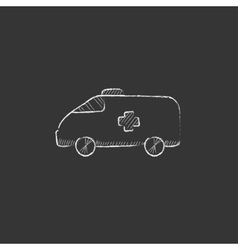 Ambulance car drawn in chalk icon vector