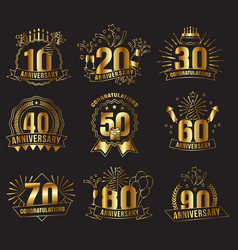 anniversary golden numbers set vector image vector image