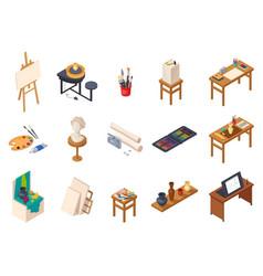 Art studio elements set vector