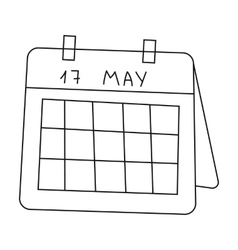 Calendar icon in outline style isolated on white vector