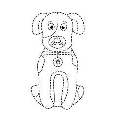 cartoon dog with collar sitting pet animal vector image