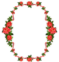 christmas frame with flowers vector image vector image