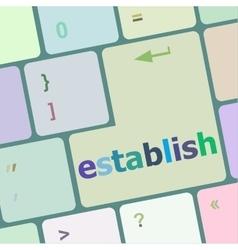 Computer keyboard key with establish word vector