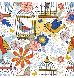 Elegant pattern with flowers bird cages and birds vector image vector image