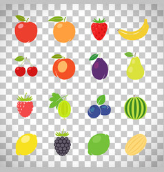 Fruits retro set on transparent background vector