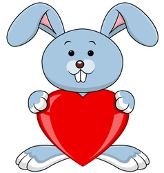 Funny rabbit holds love heart vector image