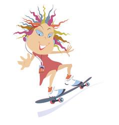 Funny skateboarding girl isolated vector