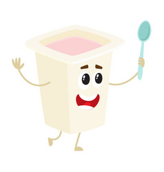 Funny yougurt character with smiling human face in vector