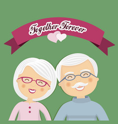 Grandparents celebrating their love with ribbon vector