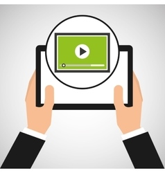 Hand holds tablet video player design vector