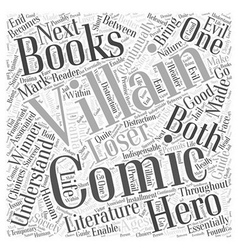 Heroes and villains in comic books word cloud vector