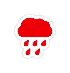 Icon sticker realistic design on paper rain cloud vector