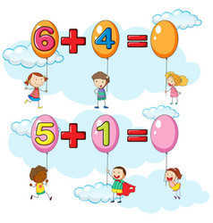 kids and two addition questions in sky vector image vector image