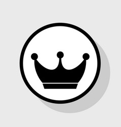 King crown sign flat black icon in white vector