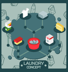 laundry color isometric concept icons vector image vector image