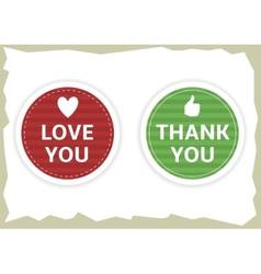Love you and thank you stickers vector