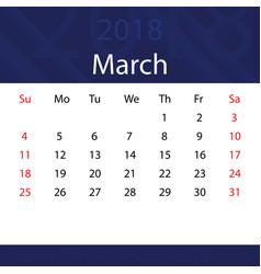 March 2018 calendar popular blue premium for vector