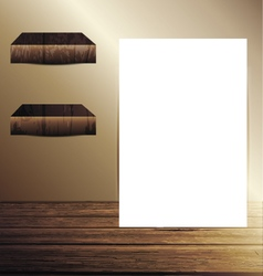 Mock up poster in the room with wooden floor vector