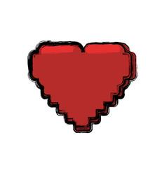 pixelated heart shape vector image vector image