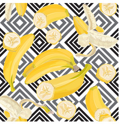 seamless hand drawn tropical pattern with banana vector image vector image