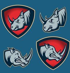 Set of emblems with rhino head sport team mascot vector