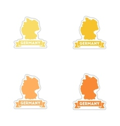 Set of paper stickers on white background germany vector