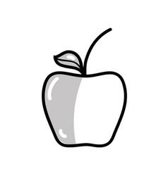 Silhouette delicious apple healthy fruit vector