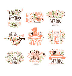 spring 1 may set for label design spring vector image