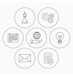 Strategy save planet and mail envelope icons vector image
