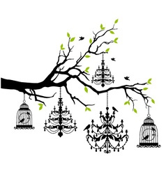 Tree with chandelier and birdcage vector