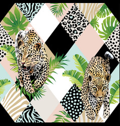 tropical palm leaves and exotic leopard background vector image