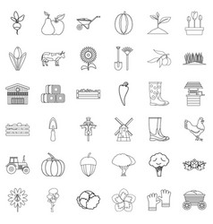 vegetable icons set outline style vector image