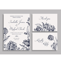 Vintage wedding set with spring flowers vector image vector image
