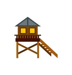 Wooden stilt house icon flat style vector image vector image