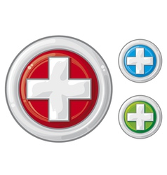 Medical sign button first aid vector