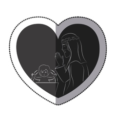 Jesus inside heart design vector