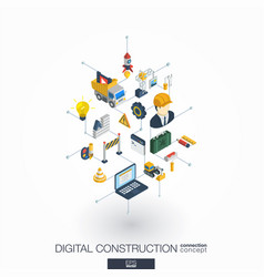 Website under construction integrated 3d web icons vector