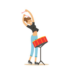 Young beautiful girl playing drum vector
