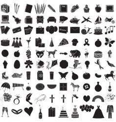 icon set 100 vector image