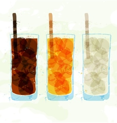 Set of multi-colored glass cup stains vector