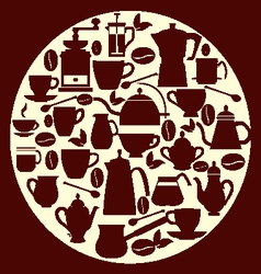 Coffe house coffee silhouette pots with cups vector