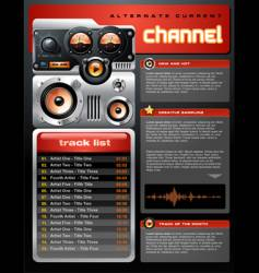 Red analog mp3 player brochure vector