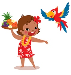 Tropical island girl and parrot vector