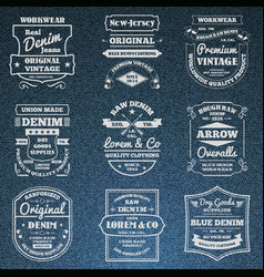 Denim jeans typography logo emblems set vector