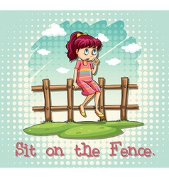 Girl sitting on fence vector