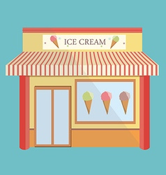 Ice cream store facade vector