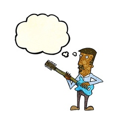 Cartoon man playing electric guitar with thought vector