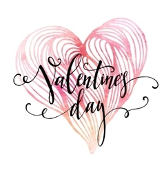 Handwritten valentines day calligraphy on red vector